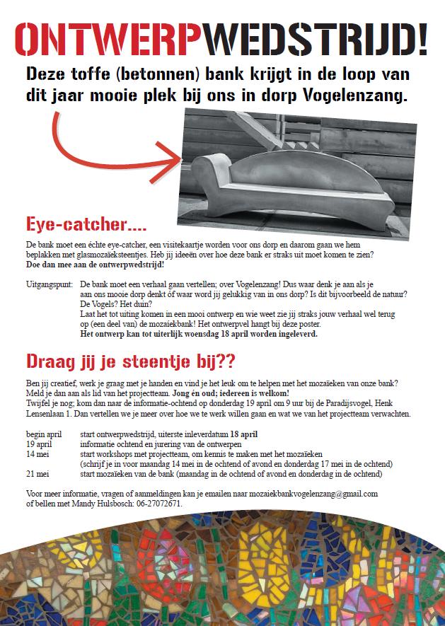 Mozaiekbank Vogelenzang ontwerpwedstrijd